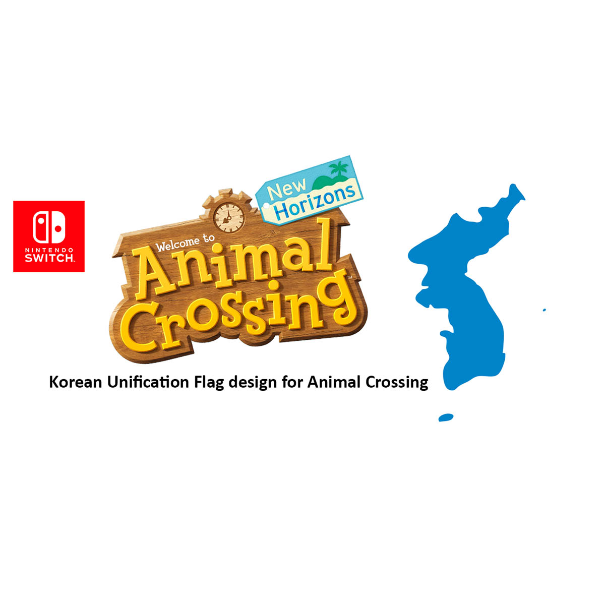 Animal Crossing – Korean Unification Shirt and Flag 동물의 숲(Animal Crossing)- 통일기와 통일셔츠